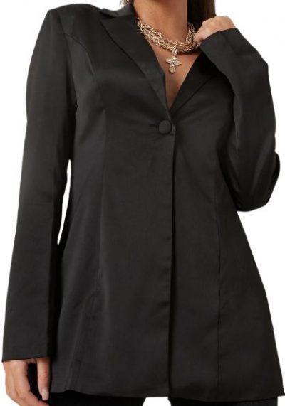 Black Satin Blazer Jacket-Missguided