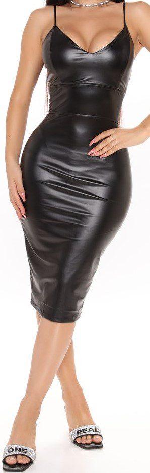 Black Scarlette Faux Leather Midi Dress-Fashion Nova