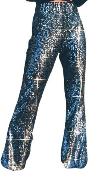 Black Sequin High-Waisted Flare Pant-Urban Outfitters