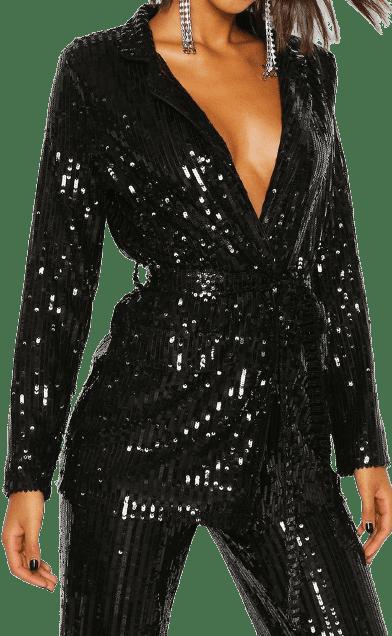 Black Sequin Tie Belt Blazer-Boohoo
