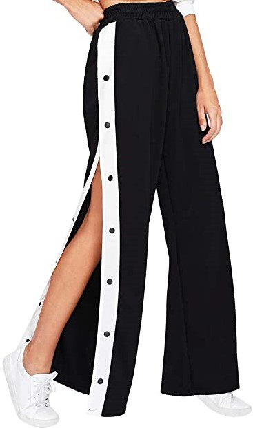Black Side Striped Snap Button Track Pants-SOLY HUX