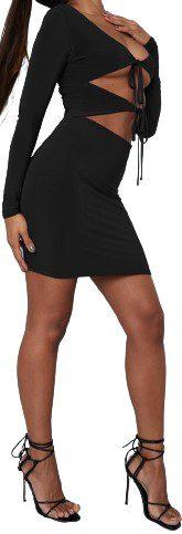 Black Slinky Tie Front Mini Dress-Missguided