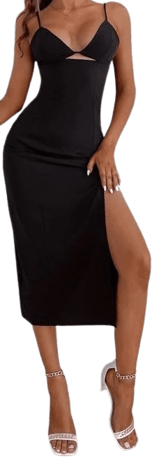 Black Split Thigh Cami Dress -Shein