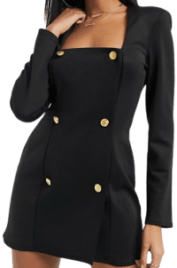 Black Square Neck Double Breasted Blazer-Asos Design