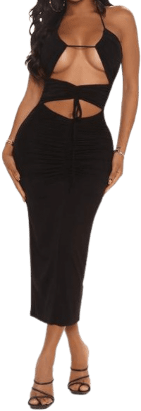 Black Talk About It Midi Dress-Fashion Nova