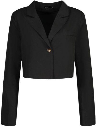 Black Tall Crop Tailored Blazer