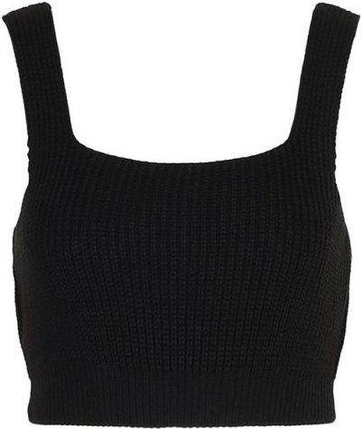 Black Tall Knitted Square Neck Crop Top-Boohoo