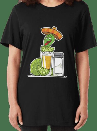 Black Tequila Worm Drinking Slim Fit T-Shirt