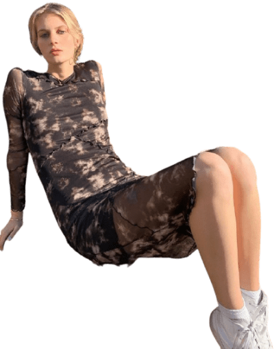 Black Tie-Dye Spliced Mesh Midi Dress-Urban Outfitters