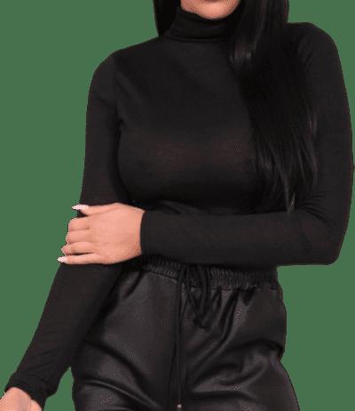 Black Turtleneck Long Sleeve Bodysuit-Femme Luxe