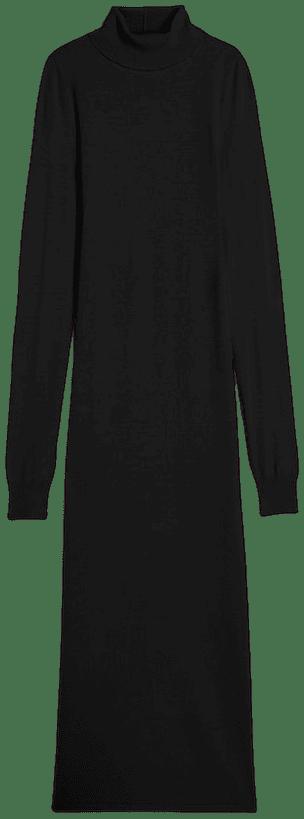 Black Turtleneck Maxi Sweater Dress-Express