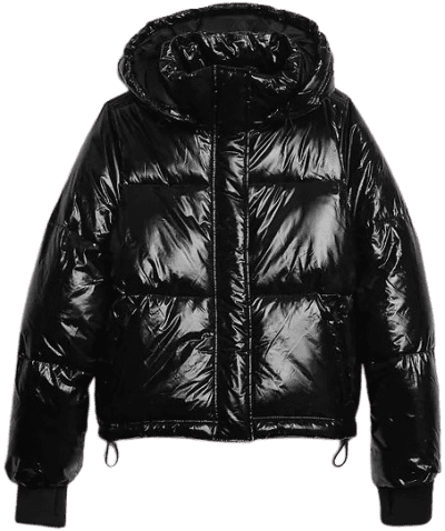 Black Upcycled Cropped Midweight Puffer Jacket-GAP