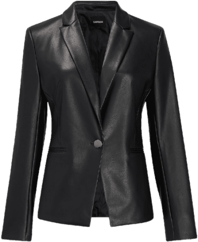 Black Vegan Leather One Button Blazer-Express