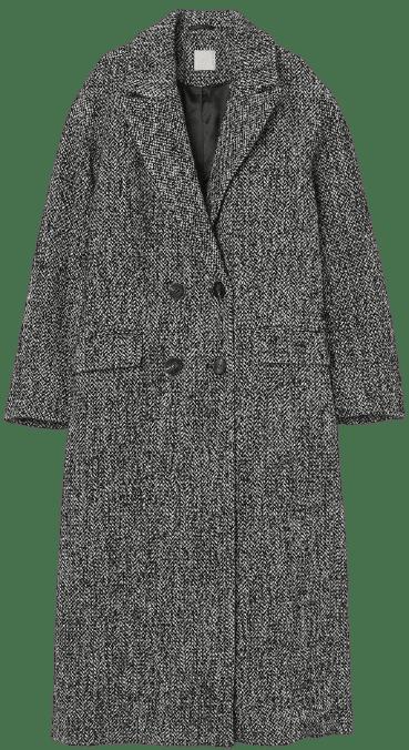 Black Wool-Blend Coat