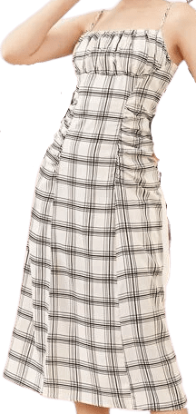 Black and White Ruched Bust Plaid Cami Dress