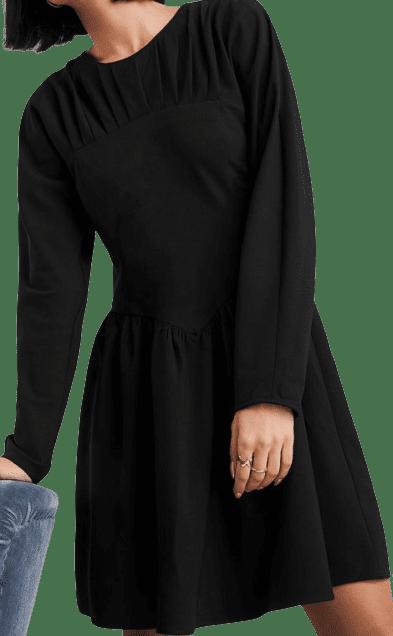 Black Gathered Neck Mini Dress-Na-KD