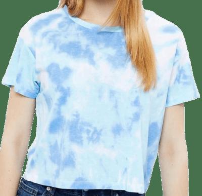 Blue Boxy Crop Tie Dye Tee-Aéropostale