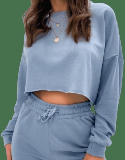 Blue Crop Sweatshirt-Missguided