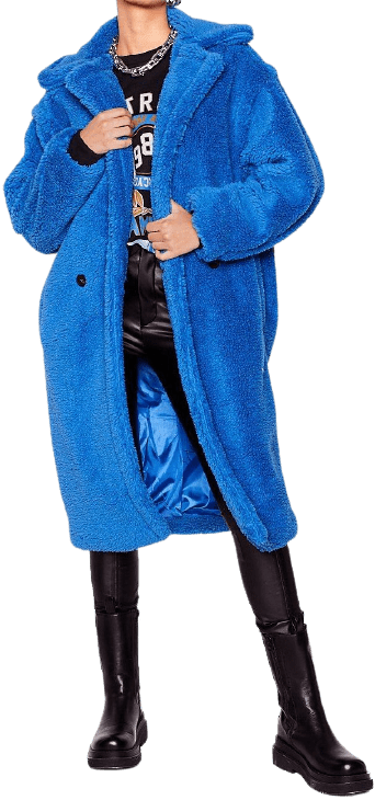 Blue Don't Lose Touch Faux Fur Longline Coat-Nasty Gal