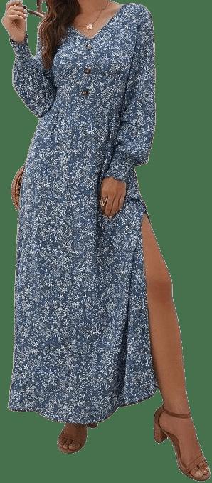Blue Floral Print Split Thigh Maxi Dress-Shein
