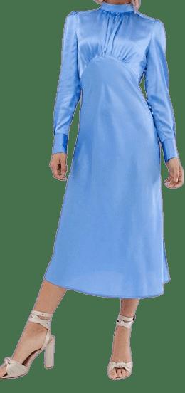 Blue High Neck Midi Satin Tea Dress-Asos Design