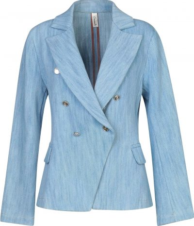 Blue Lapel Double-Breasted Blazer
