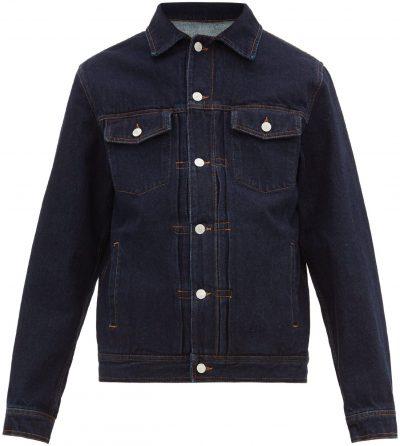 Blue Liam Topstitched Denim Jacket-Officine Générale