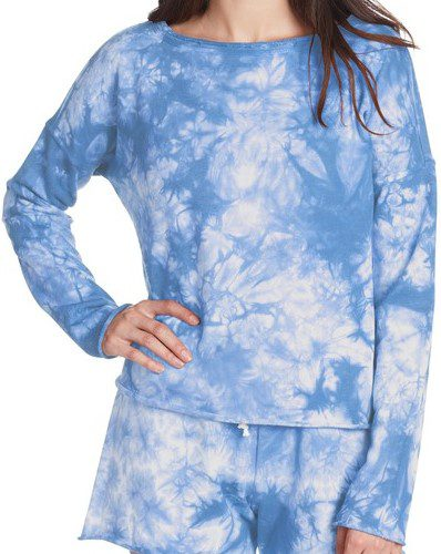 Blue Long Sleeve Tie Dye Shirt-Betsey Johnson