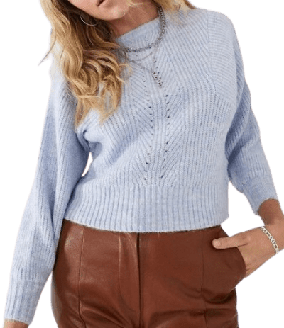 Blue Marl Ribbed Sweater-Topshop