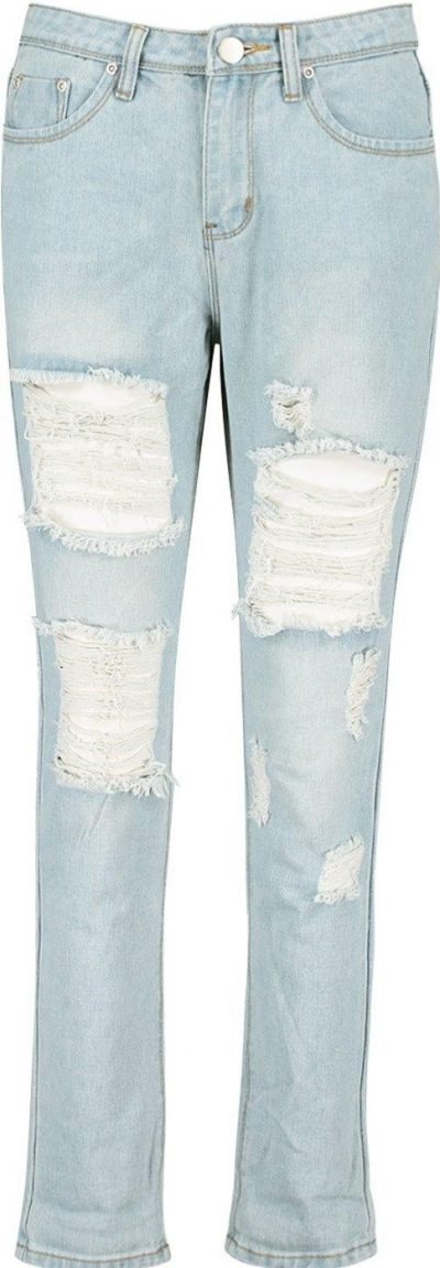 Blue Mid-Rise all Over Ripped Boyfriend Jeans