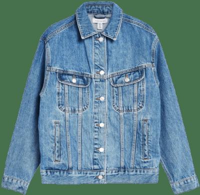 Blue Oversized Denim Jacket-Topshop