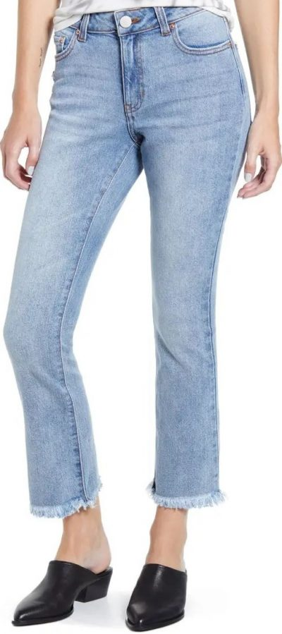Blue Raw Hem Crop Flare Jeans-Prosperity Denim