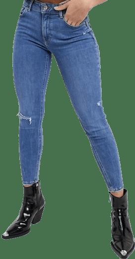 Blue Skinny Push-Up Knee Rip Jeans