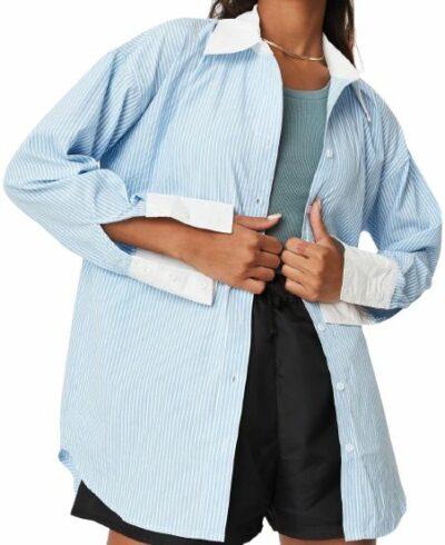Blue Stripe Cotton Oversized Shirt-Missguided