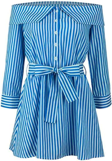 Blue Striped Long Sleeve Wrap Dress
