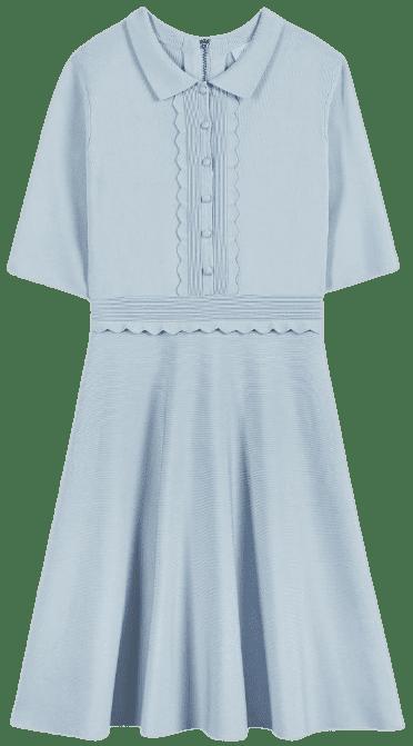 Blue Tilliii Scallop Bodice Knitted Dress-Ted Baker