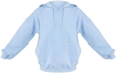 Blue Washed Oversized Hoodie-Prettylittlething