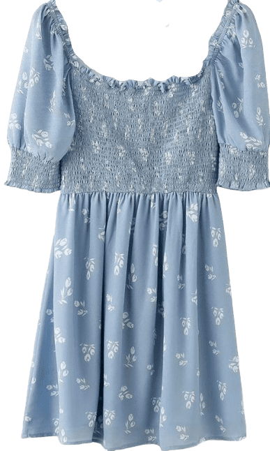 Blue French Style Small Fresh Printed Dress
