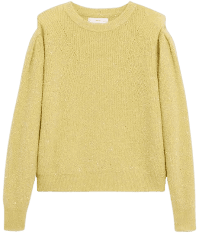 Bright Yellow Puffed Sleeves Sweater-Mango