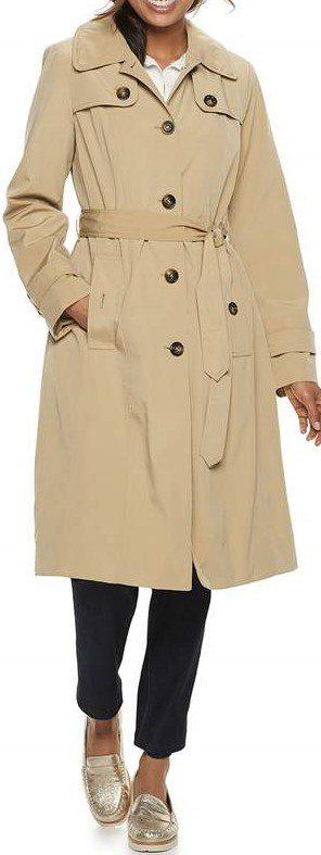 British Khaki Hooded Trench Coat-London Fog