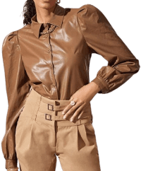 Brown Bishop Sleeve PU Leather Blouse-Shein
