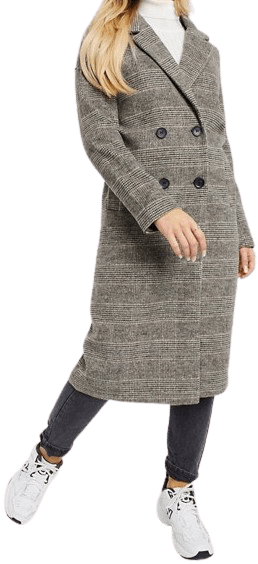 Brown Check Wool Double Breasted Coat-Monki Lou