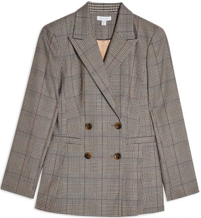 Brown Ella Check Double Breasted Blazer