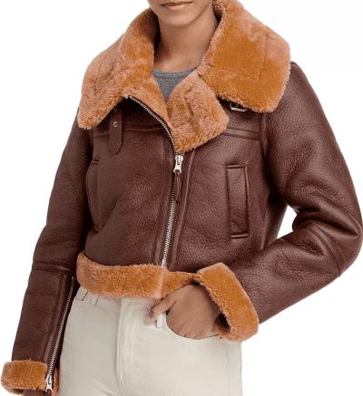 Brown Faux Shearling Moto Jacket