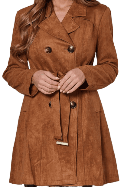 Brown Faux Suede Double Breasted Coat