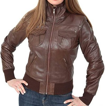 Brown Leather Bomber Jacket-A1 Fashion Goods