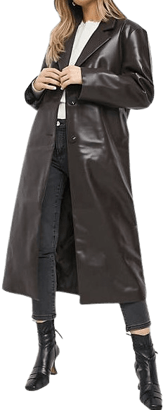 Brown Leather Look Trench Coat-Asos Design
