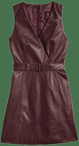 Brown Leather Sleeveless Mini Wrap Dress - Ted Baker