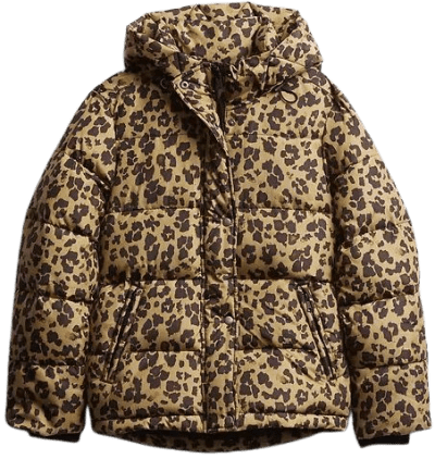 Brown Leopard Upcycled Midweight Puffer Jacket-GAP