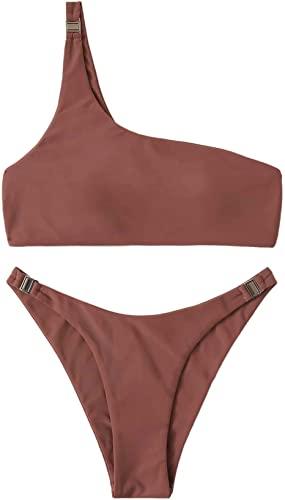 Brown One Shoulder Top With High Waist Bikini Set-SweatyRocks